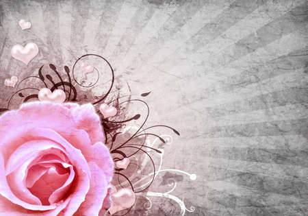 Grunge retro background with rose photo