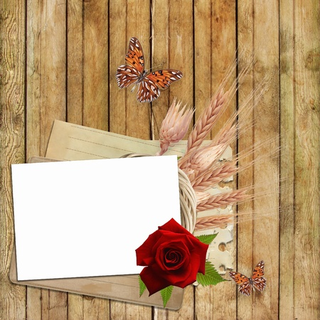 Card for invitation or congratulation with  red rose and butterfly photo