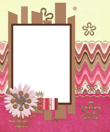 modern scrapbook layout with photo frame and flowers  photo