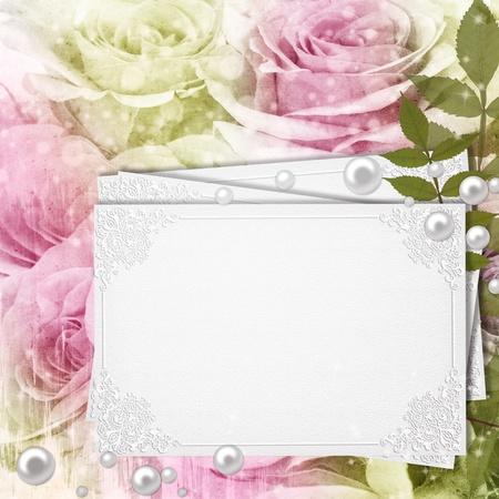 Greeting Card on Grunge Beautiful Roses Background ( 1 of set)  photo