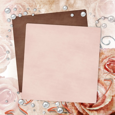 grunge textures: Wedding card with roses and pearl (more in portfolio )  Stock Photo