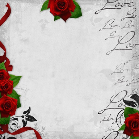 Romantic  vintage background with red roses and text love  photo