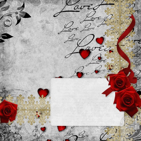 Romantic  vintage background with red roses and hearts (1 of set) photo