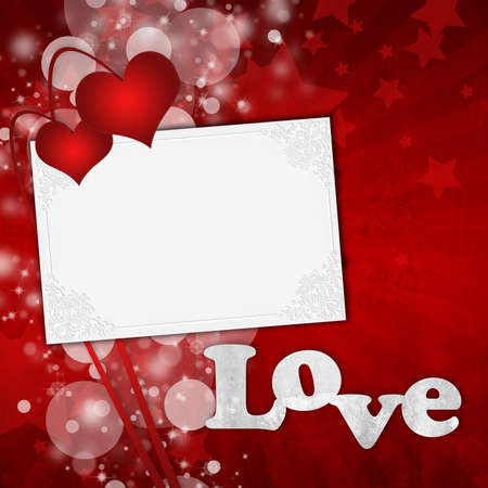 Red Valentine's day card with hearts and text love Stock Photo - 8637878