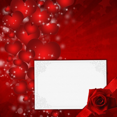 Red Valentines day card with hearts and rose  photo