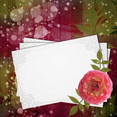 The grunge wood background with flower and card  photo