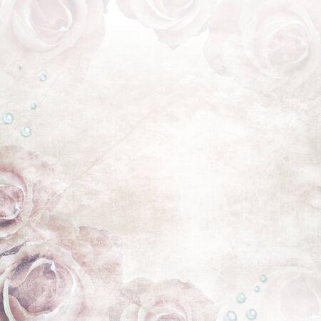 Grunge schöne Roses Background (1 Satz)  Standard-Bild