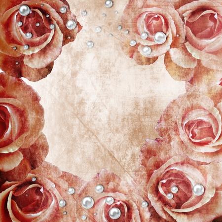 Grunge Beautiful Roses Background ( 1 of set)  photo