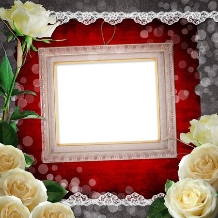 pictured: vintage background with frames  and white roses