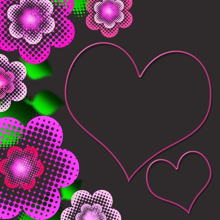 Beautiful background with pastel pink flowers with dots  and leaves photo