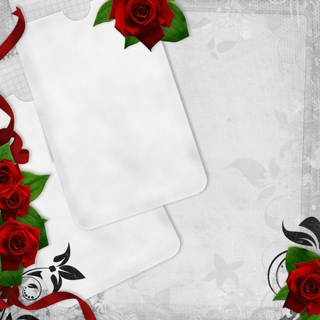 Romantic  vintage background with red roses and text love (1 of set) photo