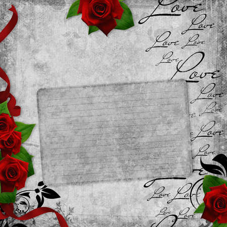 Romantic  vintage card with red roses and text love (1 of set) photo