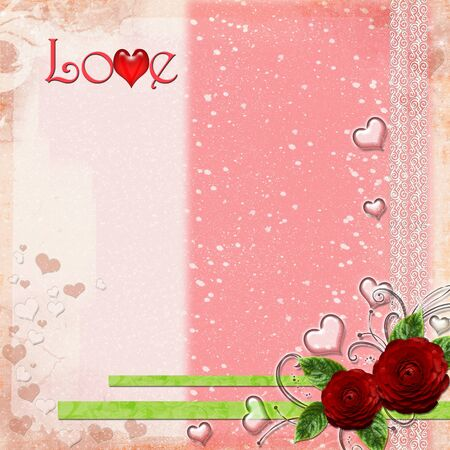 Greeting Card to Valentines Day with hearts and roses and text Love photo