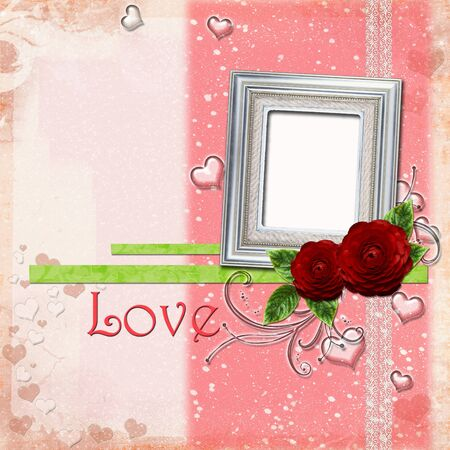Greeting Card to Valentines Day with silver frame,  hearts and roses  photo