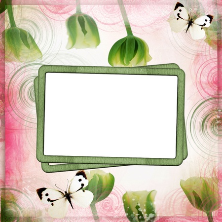 Pink and green abstract background with frame and  flowers Stock Photo - 8637903