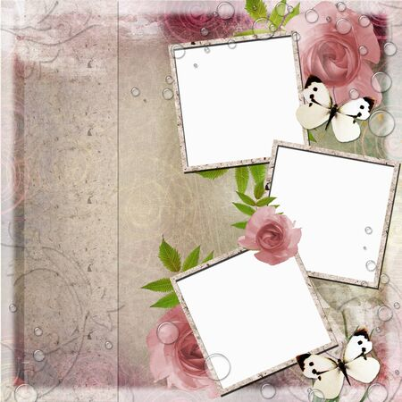 old album: Vintage Pink and green background with frames and  roses Stock Photo