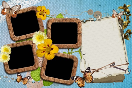 photo album page: Photo frameworks in a retro style on vintage wallpaper Stock Photo