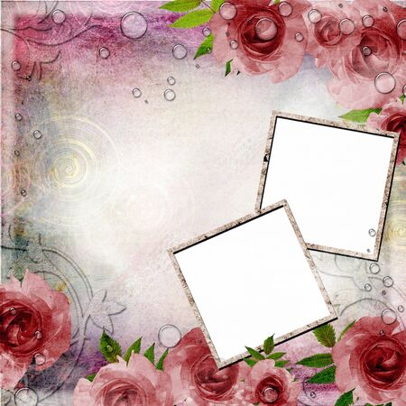 Vintage pink and green background with frames and  roses ( 1 of set) photo