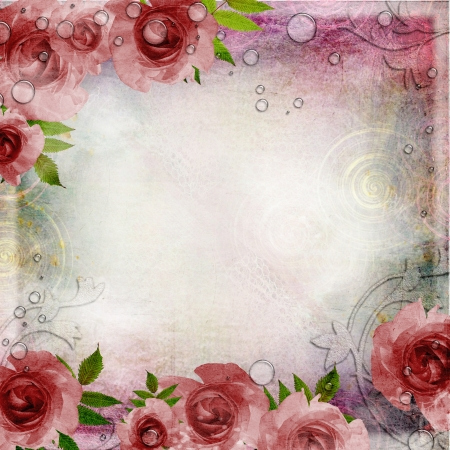 Vintage pink and green background with  roses ( 1 of set) photo