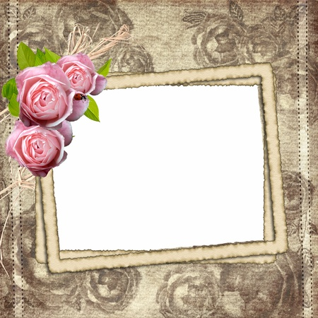 Vintage background with three frames for photo and roses photo