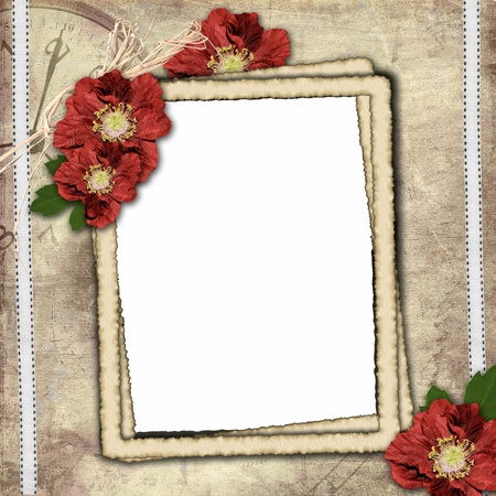 Vintage background with frame for photo and flower composition.