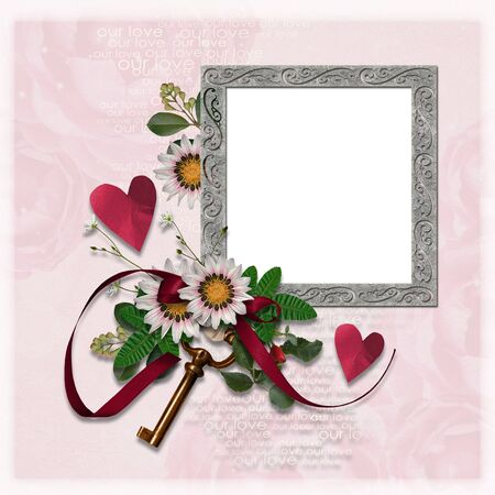 Wedding frame with flowers, hearts and key photo