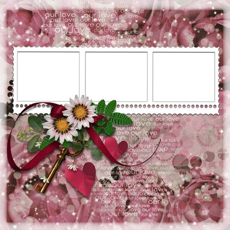 frame with flowers, hearts and key photo