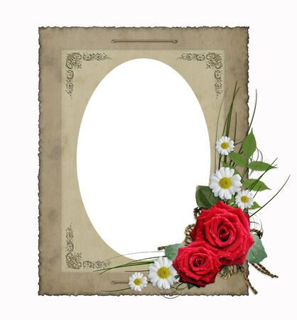 old picture:  isolated old vintage paper frame with flowers