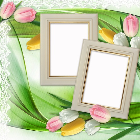Three picture frames and tulips flowers  photo
