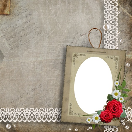wedding photo album: Old decorative frame with flowers and pearls Stock Photo