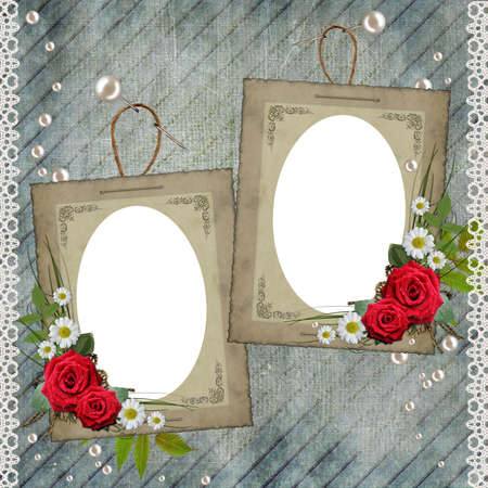 Old decorative frame with flowers and pearls photo