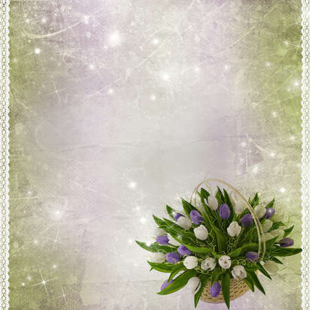 wed: green grunge background with tulips and lace Stock Photo
