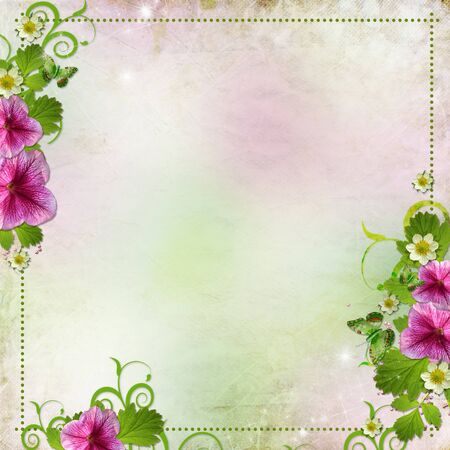 flower borders: Background for congratulation card in pink and green