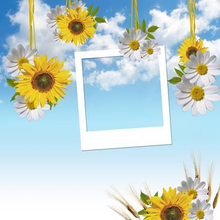 empty photo frames over sky background  photo