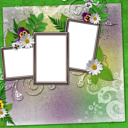 Frame for three photos with colorful flowers and leaves photo