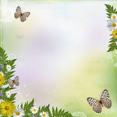 Summer background with colorful flowers and leaves