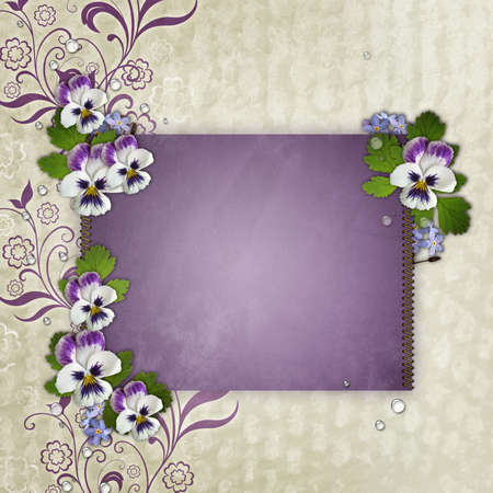 Template for  birthday or Mothers Day greetings card photo