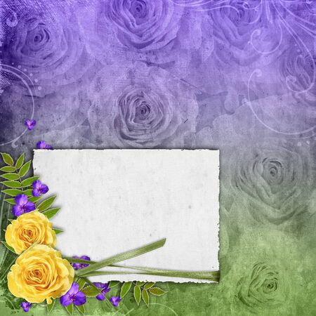 Textured grunge background with yellow rose and space for text photo