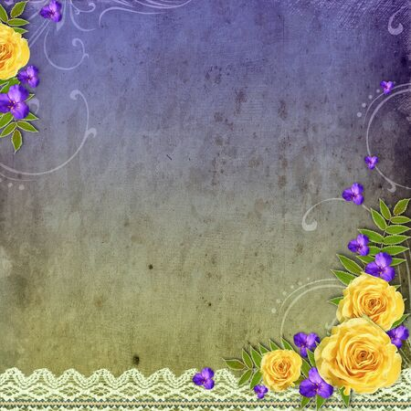 the old days: Textured grunge background with yellow rose and space for text