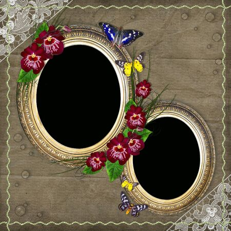 oval vintage  frame with floral decoration - background for your text or photo  photo