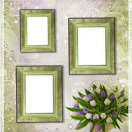 Wooden frames for photo with tulips, drops and lace (1 of set) photo