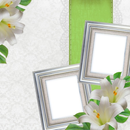 2 silver frames and white Lilies on white background  photo
