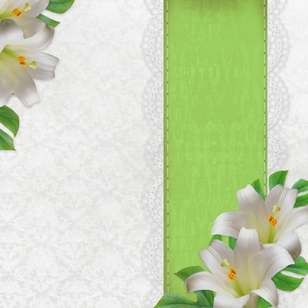 lilies: Lilies on white and green vintage  background  ( 1 of set) Stock Photo