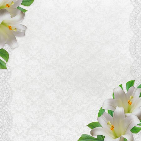 Beautiful white  lily flower on the vintage  background with lace  photo