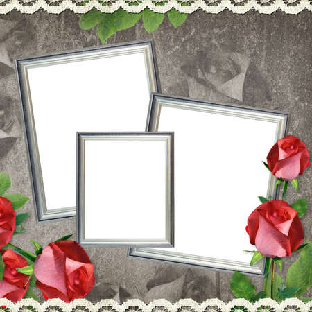 Vintage card from old paper and rose on the abstract background  photo