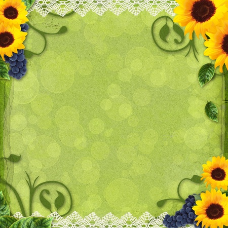 summer greeting card with sunflowers and grapes photo