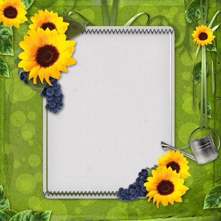summer greeting card with sunflowers and grapes Stock Photo - 9768620