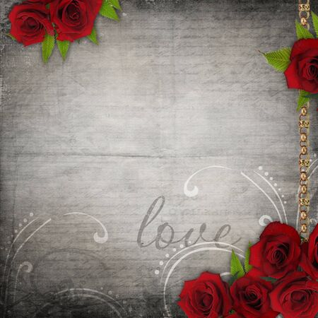 Bronzed vintage frames on old grunge background  with red roses and lace  photo
