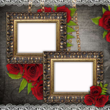 fragmentary: Bronzed vintage frames on old grunge background  with red roses and lace  Stock Photo