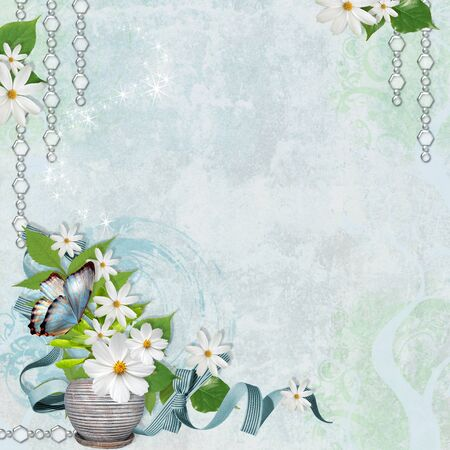 Spring shabby  blue  background with chamomile  photo